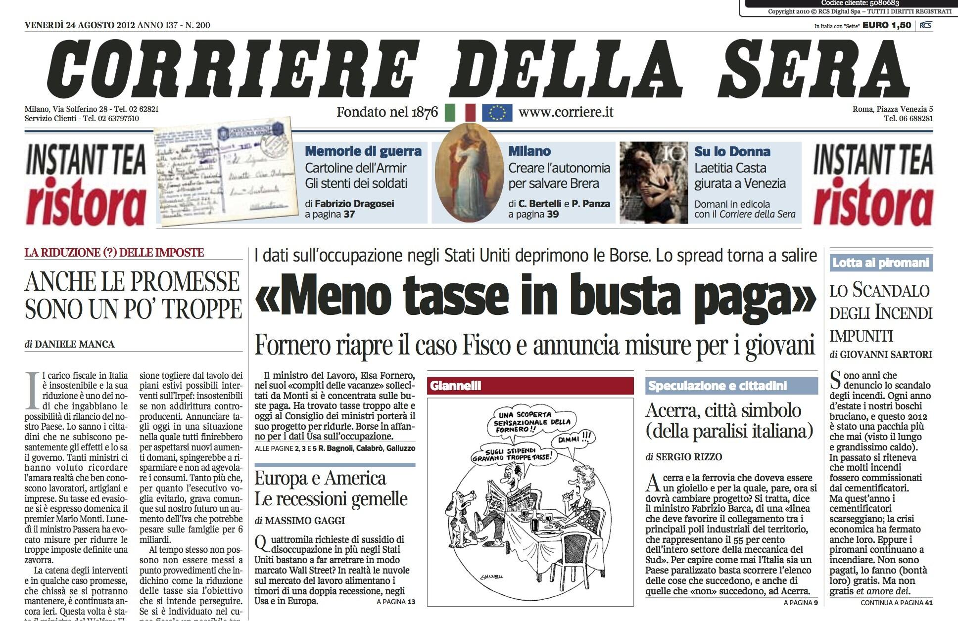 Il corriere della sera a pagamento basta cancellare la for Corriere della sera arredamento